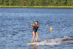 Woman study wakeboarding Royalty Free Stock Image