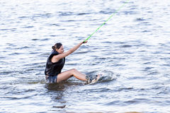 Woman study wakeboarding Royalty Free Stock Photography