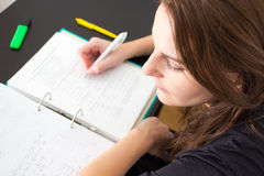 Woman Studying. Young Woman Writing Something For The University Stock Images