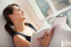 Woman studying at home Royalty Free Stock Photography
