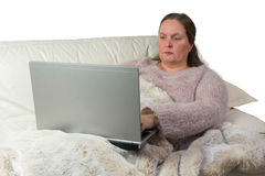 Woman studying from home Stock Images