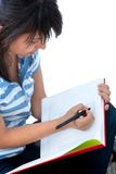 Woman studying isolated Stock Images