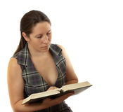 Woman studying isolated on white Stock Photos