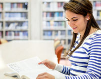 Woman studying at the library Stock Photos