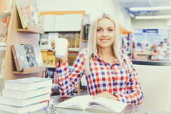 Woman studying in library Stock Photos