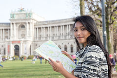 Woman studying map Vienna city Royalty Free Stock Photos