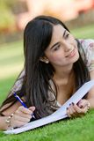 Woman studying outdoors Royalty Free Stock Photos