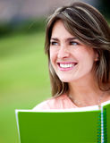 Woman studying outdoors Stock Photography