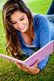 Woman studying outdoorss Royalty Free Stock Image