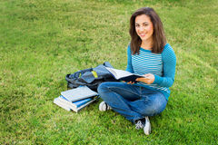 Woman studying outside Stock Photography