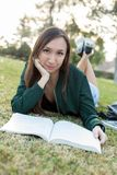 Woman studying outside royalty free stock photography