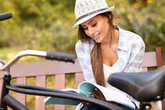 Woman studying park Stock Photos