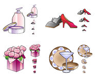 Woman stuff icons Stock Image