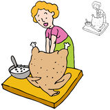 Woman Stuffing Turkey Stock Photo