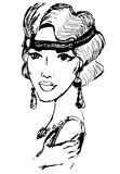 Woman in the style of the 20s. Sketch black illustration on white background Stock Photos