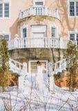 Woman stylish dress winter steps luxurious palace stock image