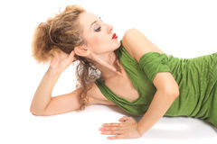 Woman with stylish hair lying Royalty Free Stock Photography