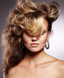 Woman with stylish hairstyle Royalty Free Stock Image