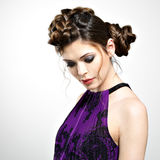 Woman with stylish hairstyle and fashion makeup Royalty Free Stock Photos