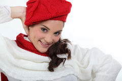 Woman in stylish knitwear Royalty Free Stock Photos