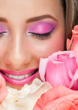 Woman with stylish make-up and roses Stock Image