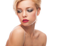 Woman with stylish makeup Stock Photography