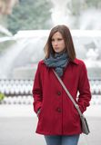 Woman in a Stylish Red Coat Stock Photography