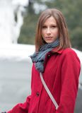 Woman in a Stylish Red Coat Royalty Free Stock Image