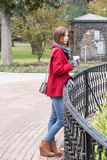 Woman in a Stylish Red Coat Royalty Free Stock Photo