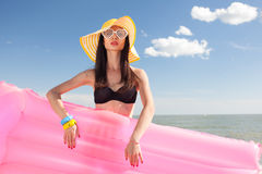 Woman in stylish swimsuit Royalty Free Stock Photography
