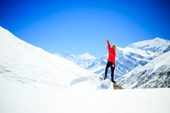 Woman success climbing on mountain peak Royalty Free Stock Images