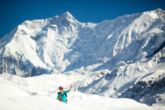 Woman success portrait on mountain peak Royalty Free Stock Photo
