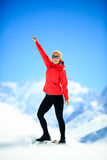 Woman success portrait on mountain peak Royalty Free Stock Photography