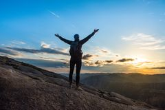Woman successful hiking silhouette in mountains, motivation and inspiration in sunset. Woman successful hiking silhouette in mountains, motivation and Royalty Free Stock Photography