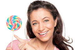 Woman with sucker Royalty Free Stock Images