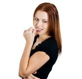 Woman sucking thumb Stock Photography