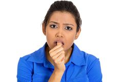 Woman sucking thumb Royalty Free Stock Photos