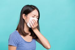 Woman suffer from sick. Asian young woman portrait Stock Photography