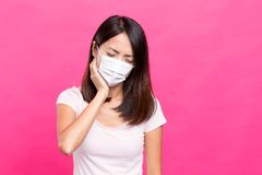 Woman suffer from toothache. Asian young woman Stock Images