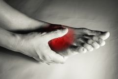 Woman suffered from foot pain. Woman suffered from foot pain,health care concept Stock Photography