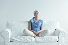 Woman suffering for alopecia Stock Images
