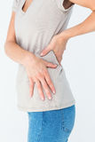 Woman suffering from back pain Royalty Free Stock Images