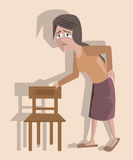Woman suffering from backpain, funny vector cartoon Stock Photo