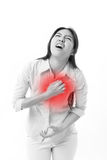 Woman suffering from chest pain, heart attack Royalty Free Stock Photo