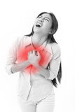 Woman suffering from chest pain, heart attack Royalty Free Stock Image
