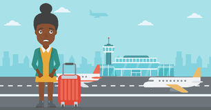 Woman suffering from fear of flying. royalty free illustration