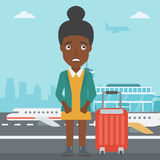 Woman suffering from fear of flying. An african-american woman frightened by future flight. Woman standing at airport and suffering from fear of flying. Phobia stock illustration