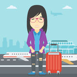 Woman suffering from fear of flying. An asian woman frightened by future flight. Woman standing at airport and suffering from fear of flying. Phobia, fear of royalty free illustration