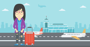 Woman suffering from fear of flying. An asian woman frightened by future flight. Woman standing at airport and suffering from fear of flying. Phobia, fear of vector illustration