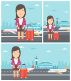 Woman suffering from fear of flying. Woman frightened by future flight. Woman standing at airport and suffering from fear of flying. Phobia, fear of flying stock illustration